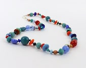 Confetti Bead Casual Necklace with Earrings, 16 1/2 inches (42cm) Long, Blue Glass Beads Hand Knotted with Random Bright Color Accents