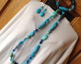 Jewelry, set, necklace, bracelet, earrings, beaded, blue, seafoam, water, sea, turquoise, serene, womens, gift, fluid, pretty- Mermaid Scene