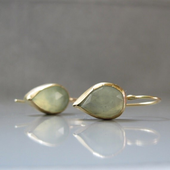 Custom order for Billie- Prehnite earrings - 14k gold drop earrings, Green Gemstone earrings, Solid gold earrings
