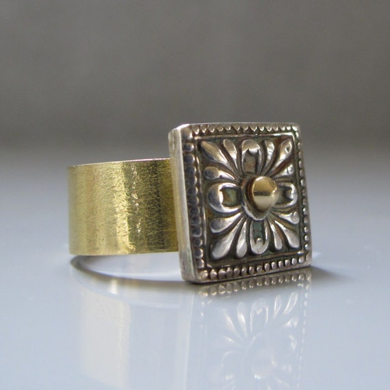 Reserved for Isa - Medieval style ring, Square top ring, Silver and gold ring, Statement ring