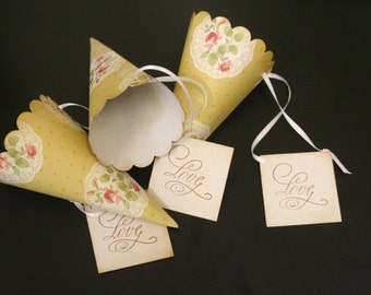 Wedding Favor Paper Cones with Tag, Roses, Lace, Petal Toss, Vintage, Confetti Cones, Rustic, Shabby Chic, Unique, Lavender Toss, Christian