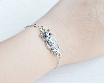 Baby Owl Bracelet, Silver Owl, Rhinestones Jewelry, Owl Charm Bracelet, Animal Bracelet, New Mom Jewelry, Whimsical Jewelry, Cute Owl, BFF