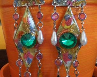60s Vintage Circus Delights Chandelier Post Earrings