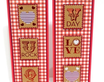 Valentine's Day Bookmarks- Red Gingham- Set of 2- approx. 2 1/2 x 7 inches