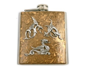 Dragons Hip Flask Game of Thrones Inspired Hand Painted Golden Bronze Battling Dragons Flask Custom Colors and Personalized Option
