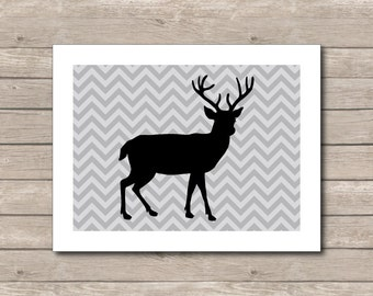 Grey Reindeer Christmas Printable, Chevron Art Print, Grey Reindeer, Chevron Reindeer Art