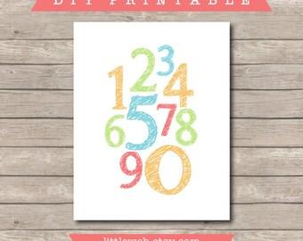Nursery Numbers Printable - DIY Instant Download - Playroom Decor