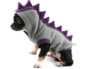Dog Costume Dinosaur Spikes Grey fleece dog Hoodie