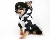 Dog Clothes Cow Costume with Mohawk Black and White fleece dog hoodie sweater in all sizes