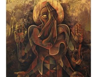 Yoga, Eagle Pose, Gold, Earth Tones, Chakras, Mudras, Hands, Yogi, Namaste, Yin Yang, Balance, Spirit, Body, Art, Figurative, Painting