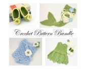Crochet Pattern Bundle, Baby Girl Crochet Patterns, Crochet Pattern Collection, Crochet Baby Mermaid, Tinkerbell Costume, Ruffle Romper