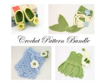 PDF Crochet Pattern Bundle, Baby Girl Crochet Patterns, Crochet Pattern Collection, Crochet Baby Mermaid, Tinkerbell Costume, Ruffle Romper
