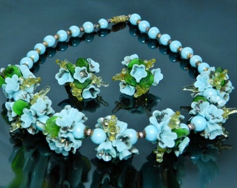 Vintage Italian Glass Necklace And Earrings