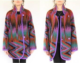 80s Sweater Coat, Avant Garde Ikat Stripe Knit Reversible Southwestern Boho Hippie Oversized windbreaker Psychedelic jacket Purple Red Green