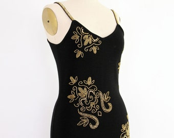 90s Beaded Cocktail Dress, Bodycon Bandage Knit Black LBD gold filigreed floral spaghetti strap boho fitted minimalist evening party frock