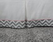Crib Skirt in White with Chevron Trim with piping - many colors to choose from