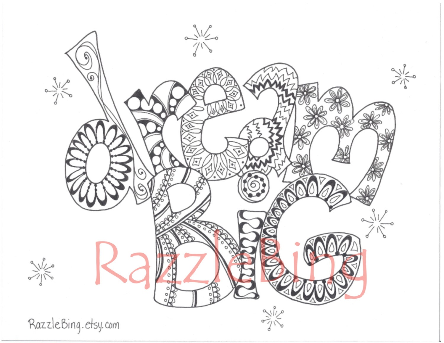 DIY Printable Coloring Page Zentangle Inspired Dream