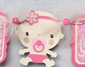 Baby shower banner, its a girl banner, pink and ivory