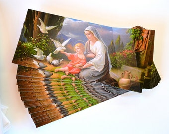 Mary & Jesus Stationary Set - Rare Art Print by Giovanni, 30 Blank Landscape Cards with Envelopes, Mother and Child Christmas Dove Postcards