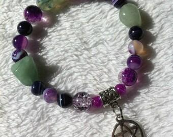 Protective bracelet with aventurine beads and pentagram charm