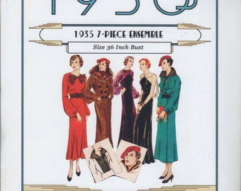 Bust 36-Reproduction 1935 Misses Day Dress, Coat With Fur Collar, Dinner Dress Vintage Pattern 677