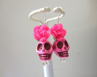 Sugar Skull Earrings Hot Pink Rose Flower Day Of The Dead Jewelry