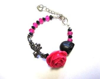 Day of the Dead Bracelet Sugar Skull Hot Pink Rose Cross Black Skull Strand