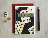 Playing Cards Birthday Greeting Card, Illustration, Note Card, Stationery, Hand Painted, Hand Lettering, 5 x 7, Folded