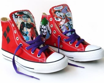 Joker and Harley Quinn Converse Mad Love