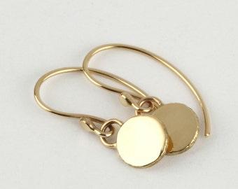 Solid gold earrings, 14k earrings, gold round earrings, yellow gold dangle earrings