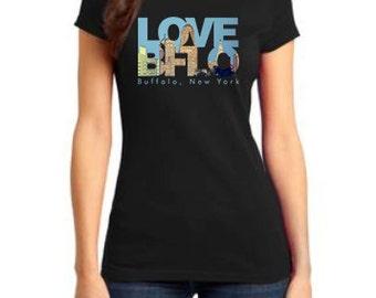 Ladies buffalo tshirt LOVE BFLO Buffalo NY architecture city hall liberty building