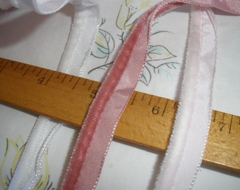 Soft Velour Cordedge Piping Trim Edging Gimp Whisper Pink, White or Rose Lip Cord lingerie pillows weddings choose yards