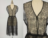 1940s dress/ 40s lace dress/ chantilly lace - shopKLAD