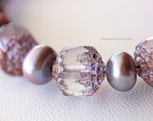 Mauve Pearl and Cathedral Bead Necklace