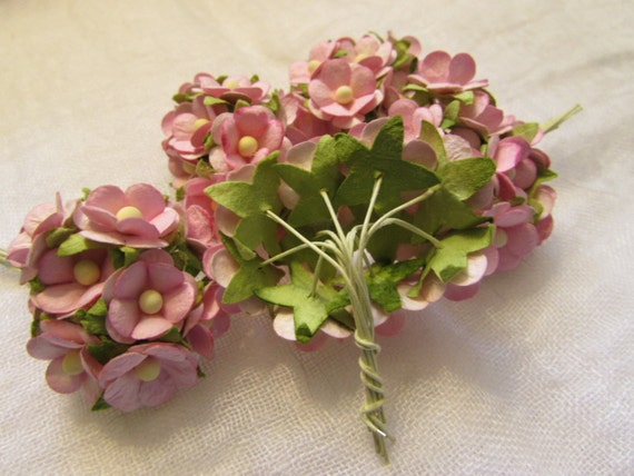 50 Tiny Pink Paper Millinery Flowers Wedding By Damesalamode