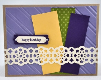 Happy Birthday Greeting Card, Yellow, Kraft, Brown, Green, Purple, Ribbon Border, Stripes, Polka Dots, Stamped, Blank Inside, For Her