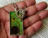 SALE-Steampunk Green Absinthe Fairy Pendant (N406) - Silver Plated Tray and Stamping - Brass Clockface - Resin - Swarovski Crystals