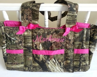 Diaper bag, baby bag Mossy oak camo *Sale* custom 6 pocket bag with Name embroidered-custom, personalized- washable, embroidered,monogrammed