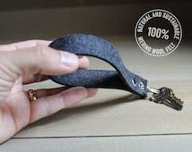 Felt Keychain / Key Fob - Charcoal Gray