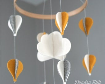 Balloon Mobile - Eco-Friendly - Rich, Lightfast Colors - Heirloom Quality - Yellow, White and Gray Hot Air Balloon Baby Mobile