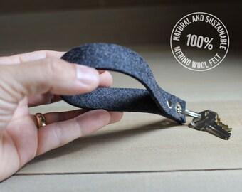 Keychain - 100% Merino Wool Felt - Teacher Gift - Charcoal Gray