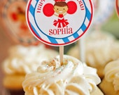 Cheerleader Cupcake Toppers  Printable - You Pick Hair Color/Skin Tone and Team/Party Colors