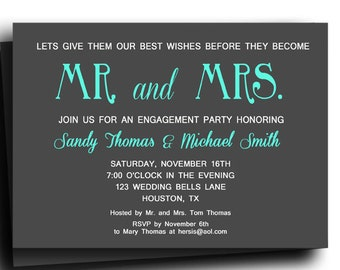 Mr and Mrs Invitation Printable or Printed with FREE SHIPPING- Engagement Party, Couples Shower, Rehearsal, Wedding - Pick Colors