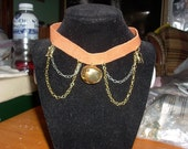 Brown Leather Cat and Bell Choker