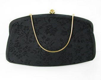 Vintage Black Purse with Embroidered Flowers, 50s Grace Kelly Clutch / Vintage Wedding Purse - Sac de Soirée Noir.