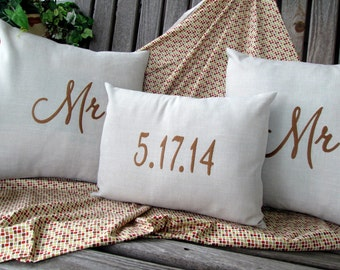 Mr And Mr Pillow Covers LGBT Commitment Ceremony Custom Embroidered Wedding Gift Anniversary Gift Wedding Shower Gift Wedding Date Pillow