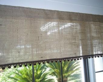 """Burlap Window Valance with Pom Pom Trim,  42"""" - 84""""  Wide  X 16"""" Long, 'The DeSoto' by Jackie Dix"""