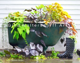 Garden Bath Tub, sweet potato vine, colorful leaves, whimsical, bathroom art, bathroom wall decor, fine art photography, Gina Waltersdorff