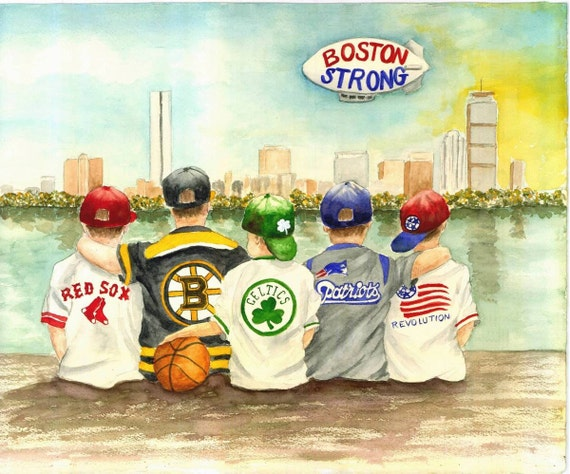 Boston Strong Matted Watercolor Print 8x10 5x7 Available