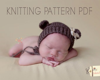 KNITTING pattern newborn bonnet baby bear bonnet hat animal may sell all finished items